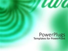 PowerPoint template displaying a white and green background with different green designs