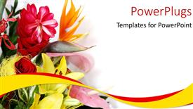 PowerPlugs: PowerPoint template with a close up view of lots of flowers over a white background