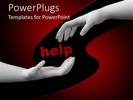 PowerPlugs: PowerPoint template with white hands reaching toward center around Help in red letters