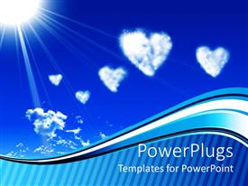 PowerPlugs: PowerPoint template with white heart clouds and sun on blue sky with wave and stripe border, love