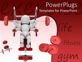 PowerPoint template displaying a white human character lifting weights in a gym