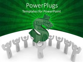 PowerPoint template displaying white human figure lifting up dollar sign with crowd cheering