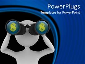 PowerPlugs: PowerPoint template with white human figure looking through a telescope with dollar signs