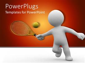 PowerPoint template displaying white human figure with tennis ratchet hitting tennis ball