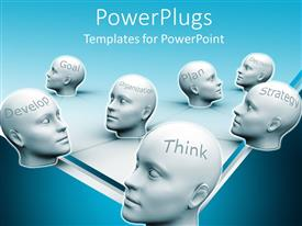 PowerPlugs: PowerPoint template with white human heads with business success words, thhink, develop, decision, goal etc