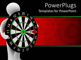 PowerPlugs: PowerPoint template with white human holding dart board with dart on bulls eye