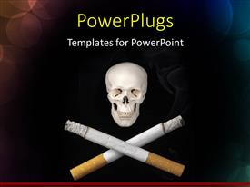 PowerPlugs: PowerPoint template with a white human skull with two crossed burning cigarrettes