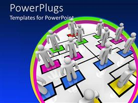 PowerPlugs: PowerPoint template with white humans standing on organizational chart, HR, human resources
