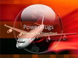 PowerPoint template displaying white jet plane on glossy red globe