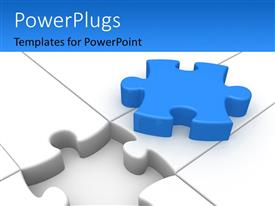 PowerPlugs: PowerPoint template with white jigsaw puzzle with blue colored missing piece on top