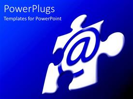 PowerPoint template displaying white jigsaw puzzle piece with blue at sign