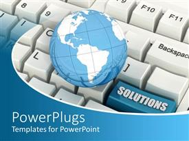 PowerPlugs: PowerPoint template with white keyboard with a blue earth globe and Solutions tab