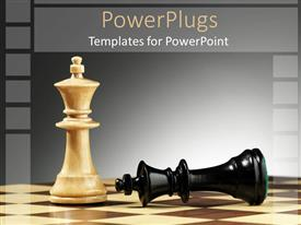 PowerPlugs: PowerPoint template with white king chess piece stands tall next to defeated black piece