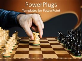 PowerPlugs: PowerPoint template with white knight piece moved on wooden chess board
