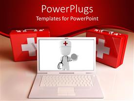 PowerPlugs: PowerPoint template with white laptop with 3D white figure on screen doctor with red cross and stethoscope, two first aid kits