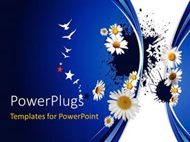 PowerPoint template displaying white lily and birds with blue color