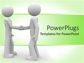 PowerPlugs: PowerPoint template with white male figures shaking hands in white-green background