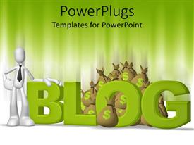 PowerPoint template displaying white man in tie with brown money bags from blogging