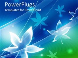 PowerPoint template displaying white maple leaf outlines on blue background