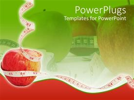 PowerPoint template displaying white measuring tape around red apple in red-green background