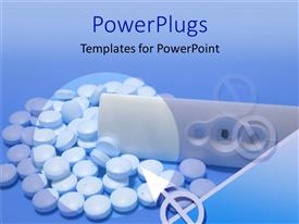 PowerPoint template displaying white medical kit with lots of pills on a blue background