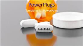 PowerPoint template displaying a number of pills with greyish background