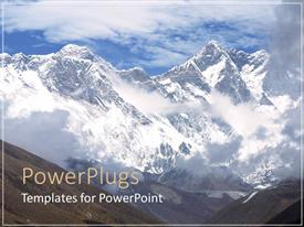PowerPoint template displaying white mountain peaks above clouds, blue sky