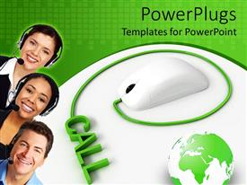 PowerPoint template displaying white mouse plugged to 3D word 'CALL' with three call operators smiling