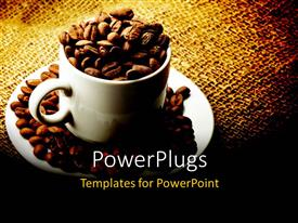 PowerPoint template displaying white mug cup and saucer filled with coffee beans