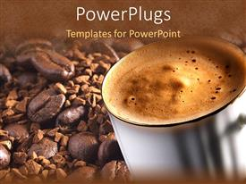 PowerPlugs: PowerPoint template with white mug with steaming coffee on a coffee beans background