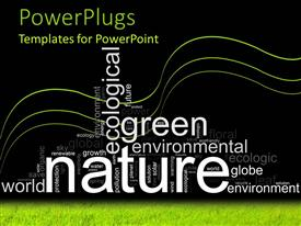 PowerPoint template displaying white nature text with other white environmental awareness text