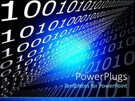 PowerPoint template displaying white ones and zeroes on black background with blue light in center