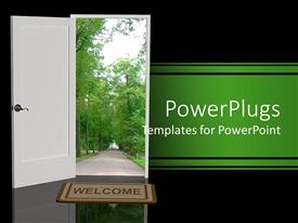 PowerPlugs: PowerPoint template with a white open door with a foot mat having the text 'welcome'