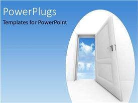 PowerPlugs: PowerPoint template with white open door leading to blue cloudy sky