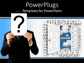PowerPlugs: PowerPoint template with white open door with a man holding a question mark symbol