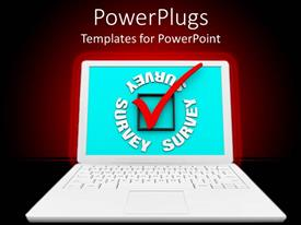 PowerPlugs: PowerPoint template with white open laptop with a green screen and a red check mark