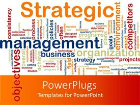 PowerPoint template displaying white and orange background with strategic and management terms written