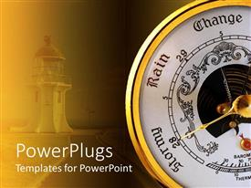 PowerPlugs: PowerPoint template with white and orange barometer with golden dial poniting at stormy