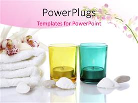 PowerPlugs: PowerPoint template with white oyster shells and towel with candles in colored glasses