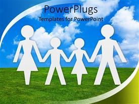 PowerPoint template displaying white paper cut human figures forming  family on blue sky background