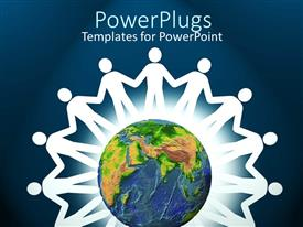 PowerPlugs: PowerPoint template with white paper doll cutouts around a globe