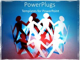 PowerPlugs: PowerPoint template with white paper men holding hands in circle with black shadow