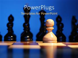 PowerPlugs: PowerPoint template with a white pawn with other chess pieces on a chess board