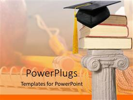 PPT having white pillar holding three big books and a graduation cap on top