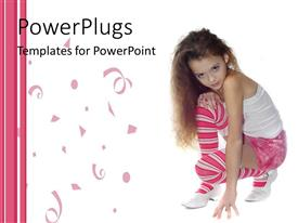 PowerPlugs: PowerPoint template with white and pink background with a little girl with white top pink skirt 3/4 white and pink striped socks and white shoes