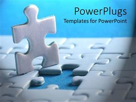 PowerPoint template displaying white puzzle piece out of complete puzzle