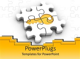 PowerPlugs: PowerPoint template with white puzzle pieces forming gold key, gold and white background