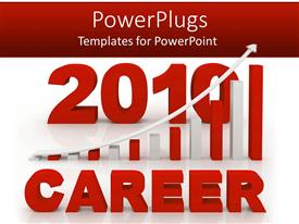 PowerPlugs: PowerPoint template with white and red 3D 2010 career graphic chart with rising arrow