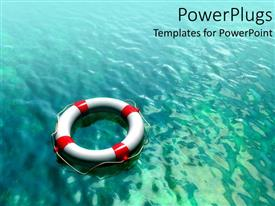 PowerPlugs: PowerPoint template with white and red lifesaver on teal blue water background