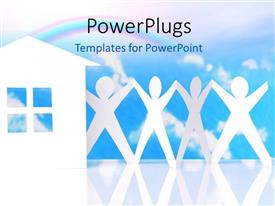 PowerPlugs: PowerPoint template with white residential house with paper men holding hands against blue cloudy sky